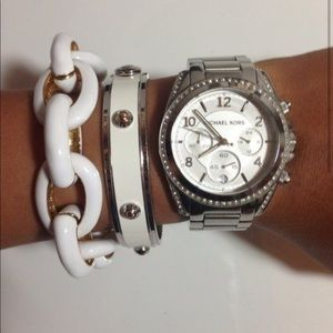 Michael Kors Oversized Blair Pavé Silver Watch